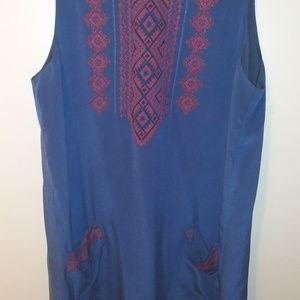 Madewell - Navy Embroidered Tank Dress sz L